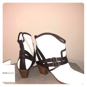 See by Chloe Nwt linen and leather cowboy booties